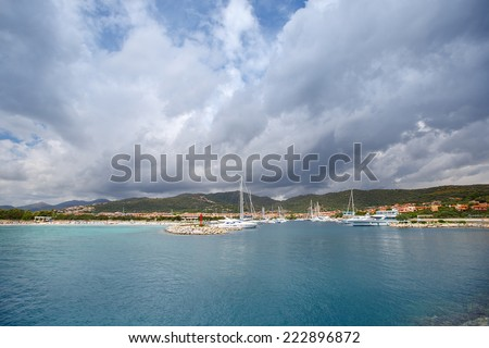 Classic white yachts anchored in the Porto Ottiolu, Sardinia, Italy - stock photo
