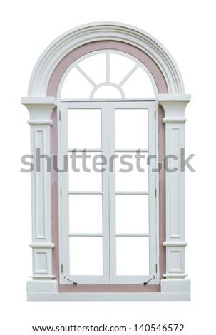Classic window frame isolated on white background - stock photo