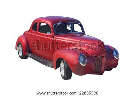 classic wine red retro coupe on white - stock photo