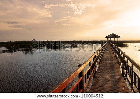 Classic Wood walk way in grass field with sunset theme - stock photo