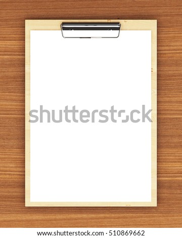 Classic wooden clipboard with blank white paper on the wooden background in the design of information related to the Office. 3d illustration