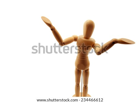 """Classic wooden dummy in """"Well"""" pose isolated on white. - stock photo"""