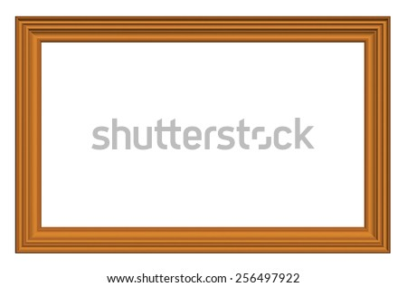 Classic wooden frame isolated on white background.3d render - stock photo