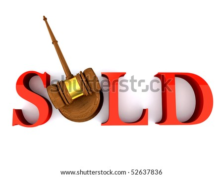 Classic wooden judge's gavel and sold word - stock photo