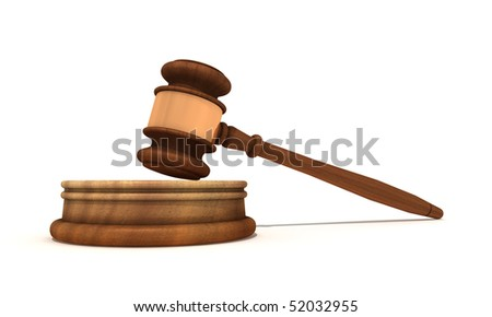 Classic wooden judge's gavel, isolated on white background - stock photo