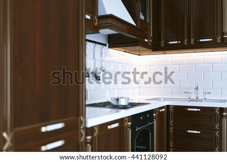 Classic wooden kitchen furniture. Perspective 3d render