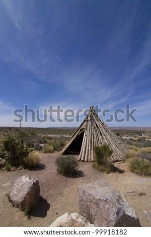 Classic wooden native Indian tee-pee, arizona, USA - stock photo