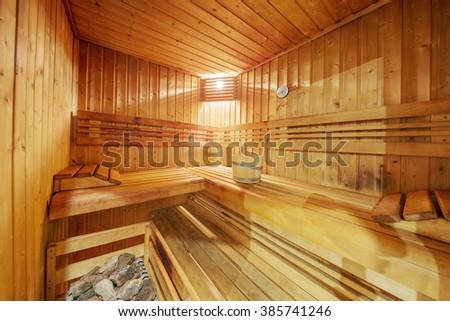 classic wooden sauna interior - stock photo