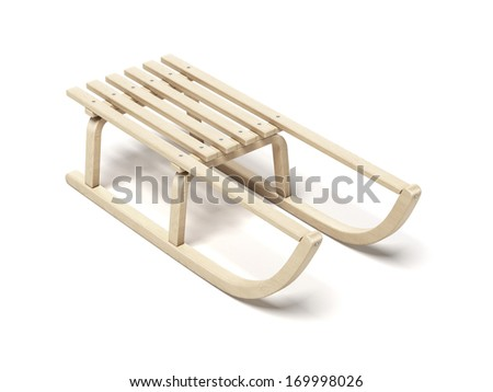 Classic wooden sled - stock photo