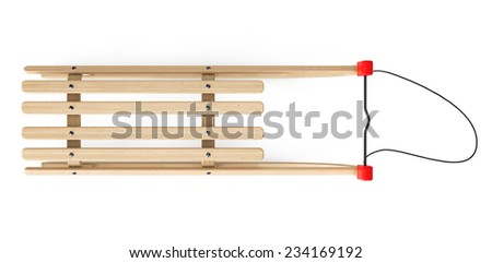 Classic Wooden Sled on a white background