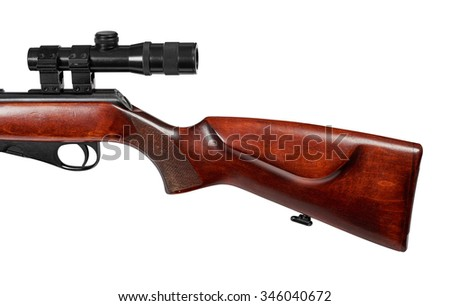 Classic wooden stock with cheek level ridge. Repeating small-bore rifle caliber 22 LR