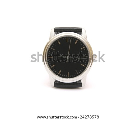 Classic wristwatch isolated on white.