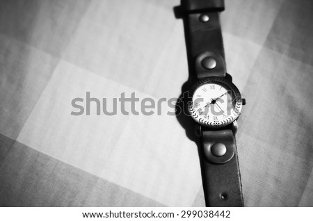 classic Wristwatchblack and white color tone style - stock photo