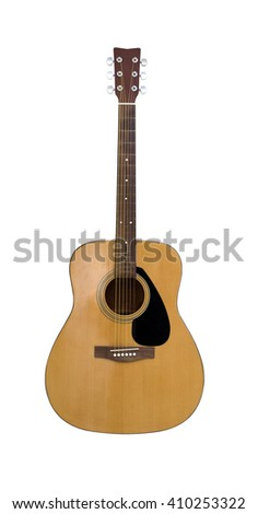 classical acoustic guitar isolated on a white background - stock photo