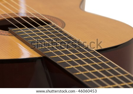 Classical acoustic guitar, isolated on white background.