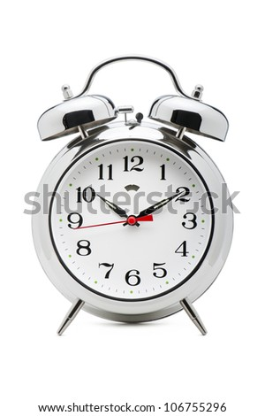 classical alarm clock on white background
