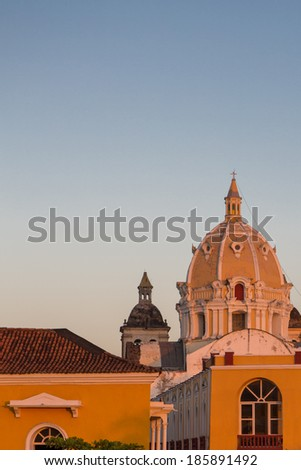 Classical architecture and dome of San Pedro claver church, Cartagena. Colombia 2014. - stock photo