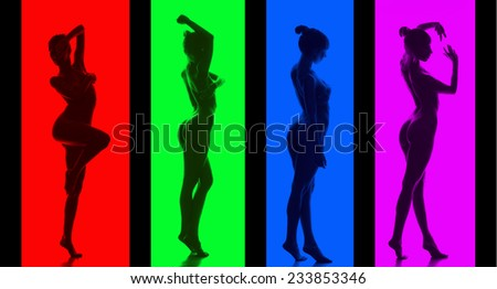 Classical artistic nudity style picture of woman. Color concept - stock photo