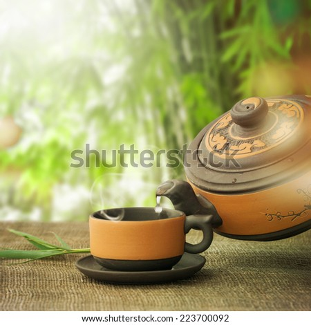 Classical asian tea set - stock photo