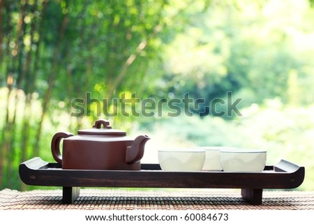 Classical asian tea set at outdoors - stock photo
