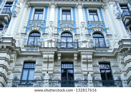 Classical building in the center of Riga - stock photo