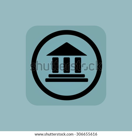 Classical building with pillars in circle, in square, on pale blue background - stock photo