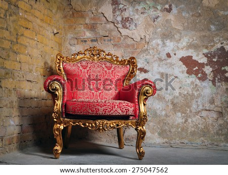 classical carved wooden chair - stock photo