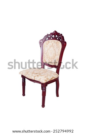 classical carved wooden chair isolated on white background,