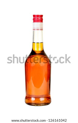 Classical cognac  bottle. It is filled, corked. - stock photo