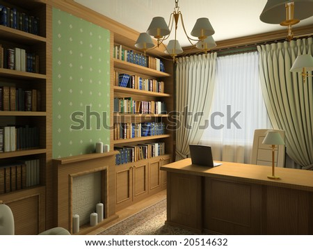 Classical design interior of cabinet. 3D render