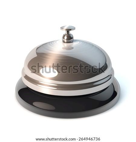 Classical desktop bell, reception bell, 3d rendering - stock photo