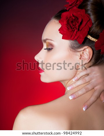 Classical french manicure - stock photo