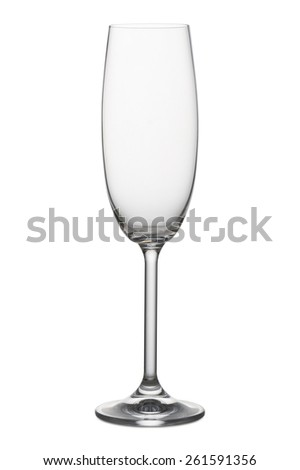classical glass for champagne empty, on white background - stock photo