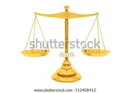 Classical gold scales on a white background - stock photo