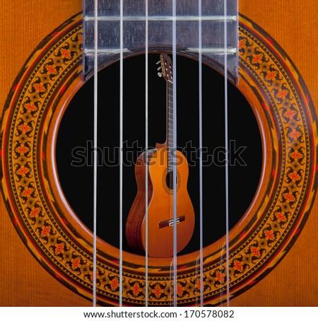 Classical guitar in a guitar - stock photo