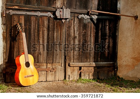 classical guitar in front of the old gate