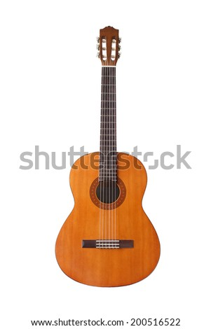 Classical Guitar Standing On White Background