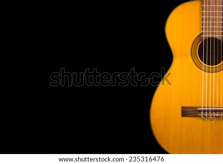 Classical guitar wallpaper isolated on  black  background for poster design - stock photo