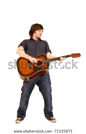 Classical guitarist professional with acoustic six string guitar isolated on white background