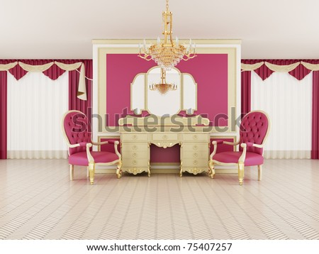 Classical hall interior - stock photo
