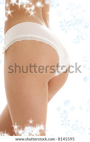 classical image of voluptuous female curves with snowflakes - stock photo