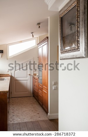 Classical interior of a hallway and the kitchen