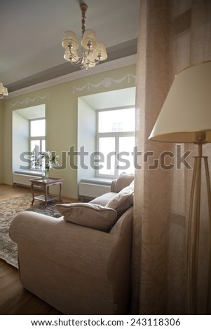 Classical interior of living room with a couch - stock photo