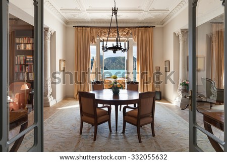 classical Interiors, luxury living room in a period mansion  - stock photo
