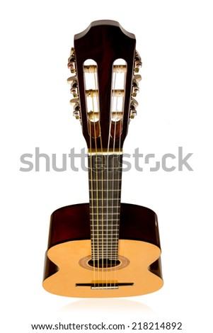 Classical light brown acoustic guitar top view isolated on white background - stock photo