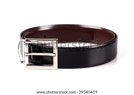 Classical   men's belt isolated on the white background