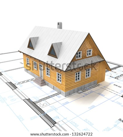 Classical mountain cottage building with layout plan illustration - stock photo