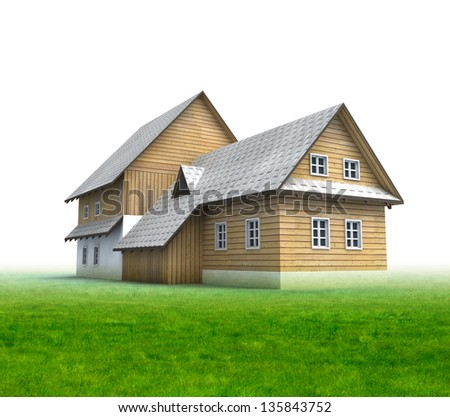 Classical mountain cottage with grass on white background illustration