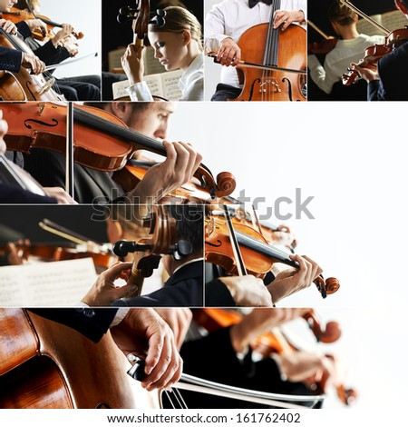 Classical music collage, violinist and cellist - stock photo