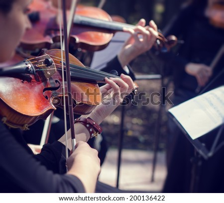 Classical music concert outdoors. - stock photo